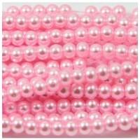 Stikliniai perlai, rožinės sp. 4 mm vėrinys 40 cm