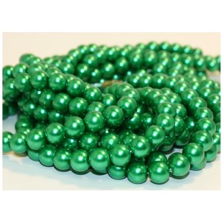 Stikliniai perlai žalios sp. 4 mm vėrinys 90 cm