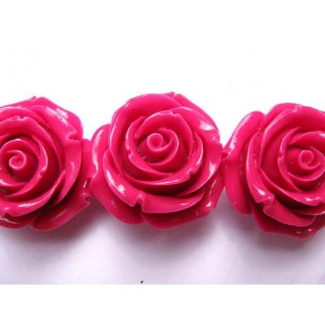 Akrilinė gėlytė rožė kabošonas ryškiai rožinės sp. 14x8mm