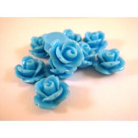 Akrilinė gėlytė rožė kabošonas mėlynos sp. 14x8mm