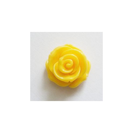 Akrilinė gėlytė rožė kabošonas geltonos sp. 14x8mm