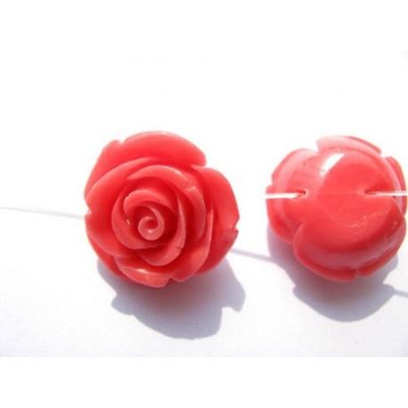 Akrilinės gėlytės rožės, veriamos šviesiai rožinės sp., 15x8mm, 1 vnt.