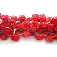 Akrilinės gėlytės rožės, veriamos raudono koralo sp., 15x8mm, 1 vnt.