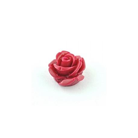 Akrilinės gėlytės rožės, veriamos raudonos sp., 15x8mm, 1 vnt.