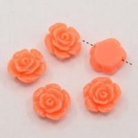 Akrilinės gėlytės rožės, veriamos oranžinės sp., 15x8mm, 1 vnt.