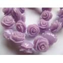 Akrilinės gėlytės rožės, veriamos violėtinės  sp., 15x8mm, 1 vnt.