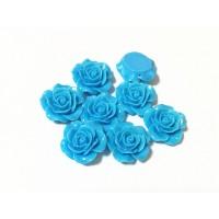 Akrilinės gėlytės rožės, veriamos mėlynos sp., 15x8mm, 1 vnt.