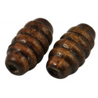 Mediniai karoliukai tamsiai rudos sp., 15x8, 10 vnt.