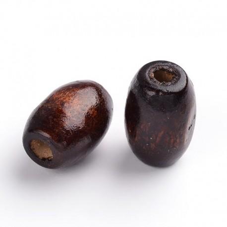 Mediniai karoliukai, tamsiai rudi, pailgi ryžio formos, 8x12mm, 10 vnt.