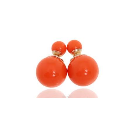Auskarai dviejų pusių, oranžinės sp., 16mm, 1 pora
