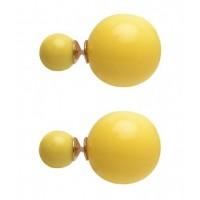 Auskarai dviejų pusių, geltonos sp., 16mm, 1 pora