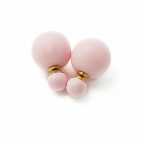 Auskarai dviejų pusių, šviesiai rožinės sp., 16mm, 1 pora