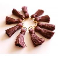 Sintentinių siūlų kutelis, tamsiai violetinis su aukso sp. žiedeliu, 30x15mm, 1 vnt.