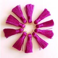 Sintentinių siūlų kutelis, šviesiai violetinis su aukso sp. žiedeliu, 30x15mm, 1 vnt.