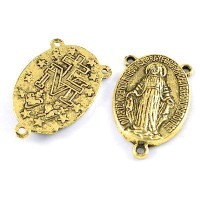 Paskirstytojas rožančiaus viduriui su 3 kilputėm, aukso sp., 23x14.5x3mm, 1 vnt.
