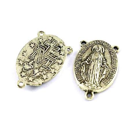Paskirstytojas rožančiaus viduriui su 3 kilputėm, sidabro sp., 23x14.5x3mm, 1 vnt.