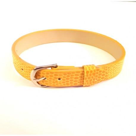 Dirželis iš odos pakaitalo geltonos sp., 22cm ilgio, 1cm pločio, 1 vnt.