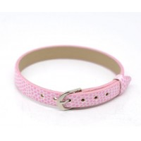 Dirželis iš odos pakaitalo šviesiai rožinės sp., 22cm ilgio, 1cm pločio, 1 vnt.