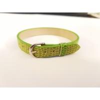 Dirželis iš odos  pakaitalo  švieisia žalios sp., 22cm ilgio, 1cm pločio, 1 vnt.