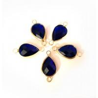 Intarpas su tamsiai mėlynos sp., kristalu lašo formos, 21x11x5mm, 1 vnt.