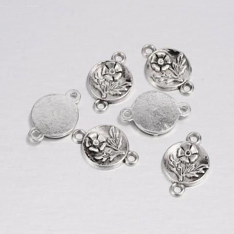 Intarpas metalinis antik. sidabro sp., 17x11mm, 1 vnt.