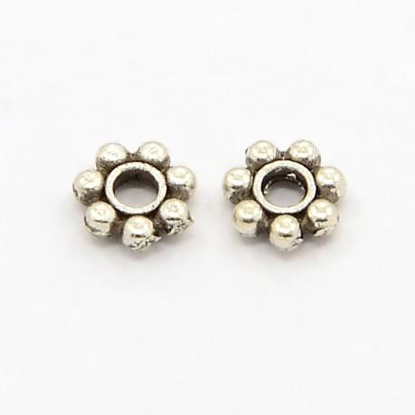 Intarpas metalinis antik. sidabro sp., 4mm, 10 vnt.