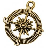 Pakabukas antik. aukso sp., kompasas, 30x25mm, 1 vnt.