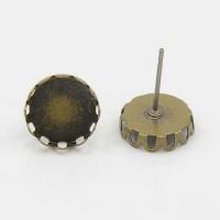 Auskarų užsegimai vinukai su plokštele antik. bronzos sp., 14x10mm, 1 pora