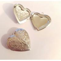 Pakabukas medalionas širdelė, sidabro sp. 27x32mm, 1 vnt