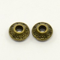 Intarpai bikonai antik. žalvario sp. su raštais 6.5x4mm, 5 vnt.