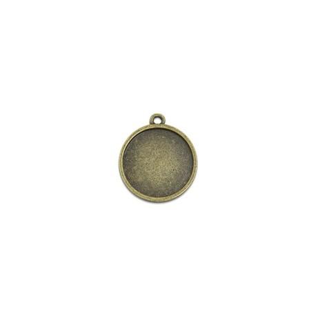 Rėmelis kabošonui pakabukas apvalus antik. žalvario sp., 22x19x2mm, 1 vnt.