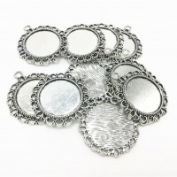 Rėmelis kabošonui pakabukas apvalus antik. sidabro sp., 35x32x2mm, 1 vnt.