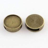 Karoliukas metalinis slaideris antik. bronzos sp., 18x5mm, 1 vnt.