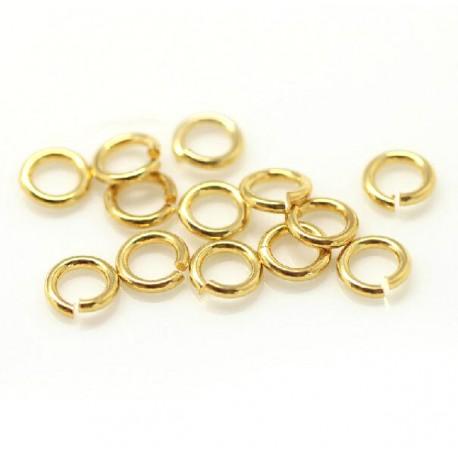 Žiedeliai metaliniai aukso sp., 5x0,8mm, 100 vnt.