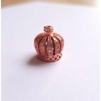 Kepurėlė karūna, rožinio aukso su cirkoniais 13 mm, 1 vnt.