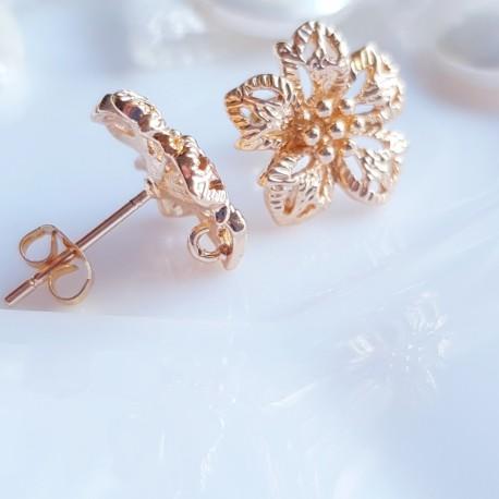 Užsegimai vinukai ausk. gėlės, paauksuoti, 24K, premium, 13,5mm, 1 vnt.