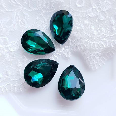 Įstatomi kristalai smaragdo žalios sp. lašo f. 18x13x5mm, 1 vnt