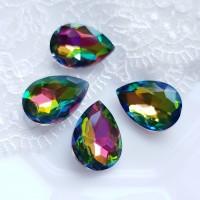 Įstatomi kristalai vitrail medium sp. žalsvos sp. 18x13x5mm, 1 vnt.