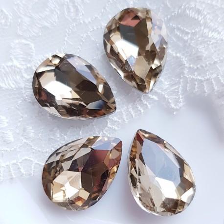 Įstatomi kristalai šampano sp. lašo f. 18x13x5mm, 1 vnt.