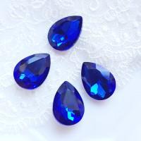 Įstatomas kristalas lašo f. mėlynas, 18x13x5mm, 1 vnt.