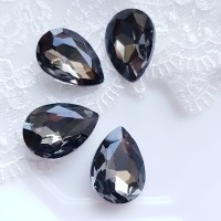 Įstatomi kristalai black diamond pilkos sp. lašo f., 18x13x5mm, 1 vnt.