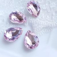 Įstatomi kristalai šv. rožinės sp. lašo f. 18x13x5mm, 1 vnt.