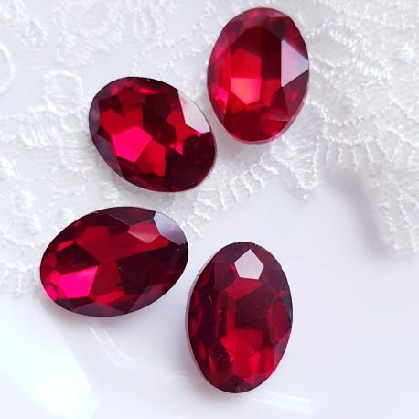 Įstatomi kristalai ovalūs siam raudonos sp. 18x13x5mm, 1 vnt.