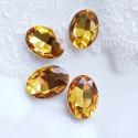 Įstatomi ovalūs kristalai oranžinės sp. 18x13x5mm, 1 vnt.