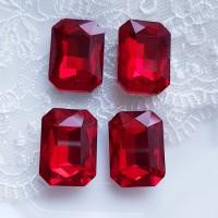 Įstatomi kristalai stačiakampiai, raudonos siam sp., 18x13x5mm, 1 vnt.