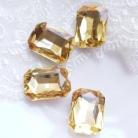 Įstatomi kristalai stačiakampiai geltonos sp., 18x13x5mm, 1 vnt.