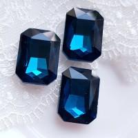 Įstatomi kristalai stačiakampiai tamsiai mėlynos sp., 18x13x5mm, 1 vnt.