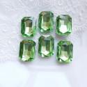 Įstatomi stačiakampiai kristalai salotinės žalios sp., 18x13x5mm, 1 vnt.