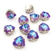 Kristalai prisiuvami, triangle formos violetinės sp. 12mm, 1 vnt.