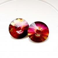 Rivoli kristalas vitrail pink, 12mm, 1 vnt.